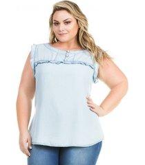 77a88fc0cc Camisetas - Com Babados - Jeans - 23 produtos com até 69.0% OFF ...
