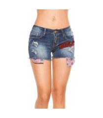 sexy jeans shorts met patches jeansblauw