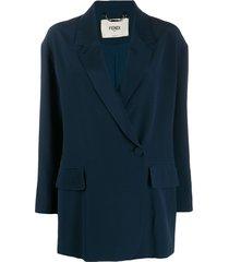 fendi silk off-centred buttoned blazer - blue