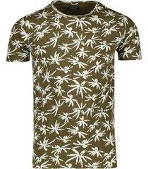 dstrezzed t-shirt ronde hals groene print palm