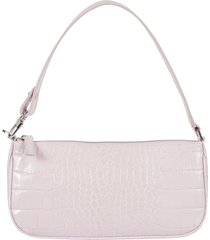 by far rachel pink croco embossed shoulder bag