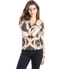 blusa manga longa animal print alphorria feminina