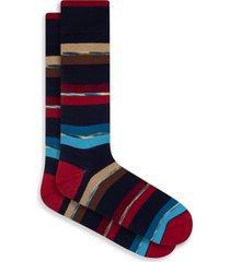 men's bugatchi stripe cotton blend socks, size one size - blue
