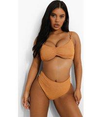 mix & match gekreukelde geknoopte bikini top met bandjes, camel