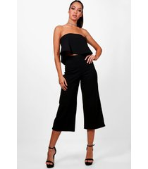 bandeau top & culottes co-ord set, black