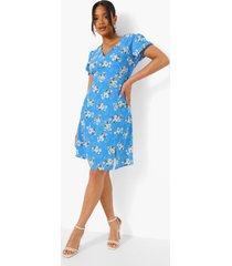 bloemenprint mini skater jurk met pofmouwen, blue
