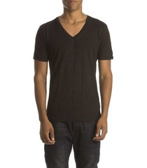 petrol t-shirt stretch v-hals black ( 2p)