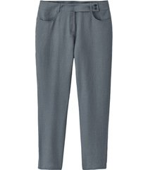 linnen broek met asymmetrische, gevormde tailleband, rookb 40