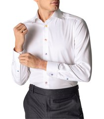 men's big & tall eton contemporary fit multicolor button solid dress shirt, size 18 - white