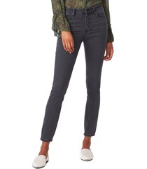 paige hoxton exposed button high waist ankle skinny jeans, size 24 in evening willow distressed at nordstrom