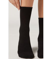 calzedonia short sport socks woman black size tu