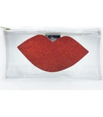 transparent clutch red lips