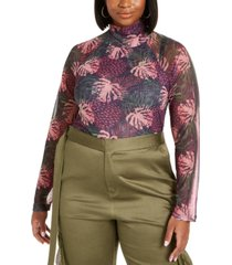 lala anthony trendy plus size mesh thumbhole top, created for macy's