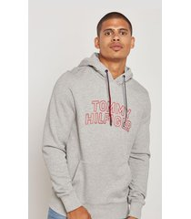 buzo gris tommy hilfiger tommy chest logo hoody