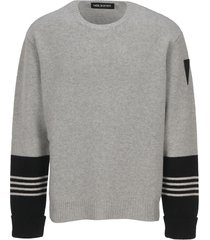 neil barrett striped cuff sweater