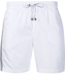 dolce & gabbana contrast stripe detail swim shorts - white