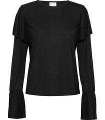 kajo pleated blouse blus långärmad svart hálo