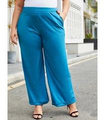 yoins plus tamaño bolsillos laterales azules pantalones