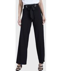 pantalón ash palazzo con lazo negro - calce holgado