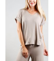 coin 1804 women's rolled sleeve v-neck t-shirt