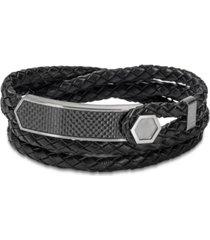 bulova men's braided leather wrap bracelet in stainless steel