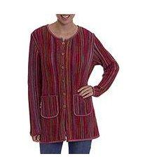 100% alpaca knit sweater jacket, 'andean fire' (peru)