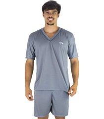pijama mvb modas adulto curto verão cinza