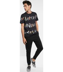 arty t-shirt 100% cotton - black - s