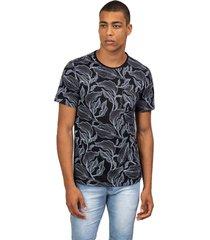 camiseta masculina folhas pb preto