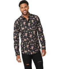 camisa g factory ls bronx plain floral negro guess