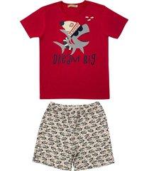 conjunto pijama de tubarã£o douvelin vermelho - azul marinho/cinza/vermelho - menino - algodã£o - dafiti