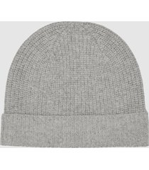 reiss harri - wool cashmere blend beanie in grey, womens