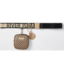 river island womens brown clip on purse belt