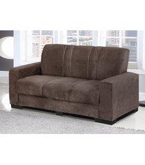 conjunto de sofá colômbia 3 e 2 lugares tecido suede amassado café - moveis marfim