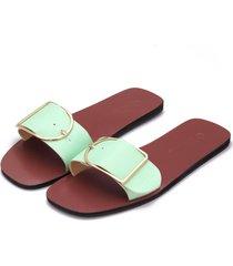 verde claro one correa de hebilla con pasador simple zapatillas