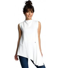blouse be b069 asymmetrische mouwloze top - ecru