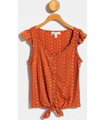 julia front tie eyelet top - rust