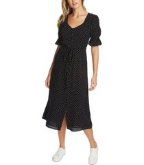 1.state scattered dot puff-sleeve midi dress