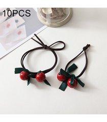 10 pcs rojo cereza estilo banda elastica de caucho anillo de pelo entrega al azar