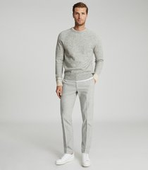reiss emeril - brushed cotton blend tailored trousers in grey, mens, size 38