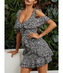 negro sin espalda diseño hombro frío con estampado de calicó al azar mini vestido