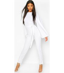 cape flute sleeve belted jumpsuit, white
