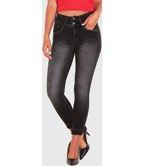 jeans wados botones pitillo pretina ancha negro - calce ajustado
