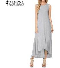 zanzea mujeres de cuello redondo del vestido ocasional de gran tamaño de la camisa sin mangas del partido -gris