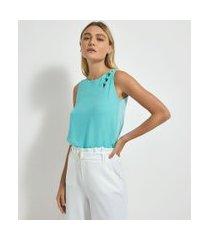 blusa regata lisa em chiffon com detalhe de bolinhas no ombro | cortelle | azul | m