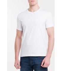 camiseta slim flamê gola v calvin klein - branco - ggg