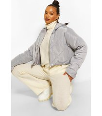 korte gewatteerde jas met panelen en capuchon, grijs