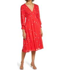 women's btfl-life polka dot long sleeve dress, size x-small - red