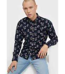 premium by jack & jones jprblasummer flower shirt l/s bd su skjortor mörk blå