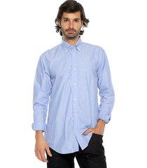camisa azul preppy ml cfit rayas bd